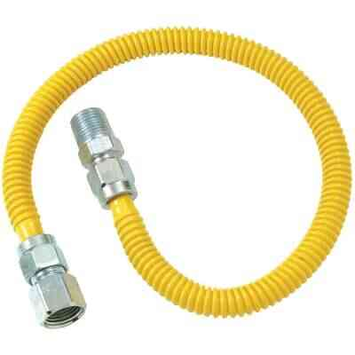 Dormont 1/2 In. OD x 24 In. Coated Stainless Steel Gas Connector, 1/2 In. FIP x 1/2 In. MIP (Tapped 3/8 In. FIP)