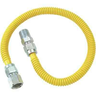 Dormont 1/2 In. OD x 36 In. Coated Stainless Steel Gas Connector, 1/2 In. FIP x 1/2 In. MIP (Tapped 3/8 In. FIP)