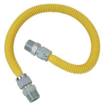 Dormont 5/8 In. OD x 48 In. Coated Stainless Steel Gas Connector, 1/2 In. MIP (Tapped 3/8 In. FIP) x 1/2 In. MIP (Tapped 3/8 In. FIP)