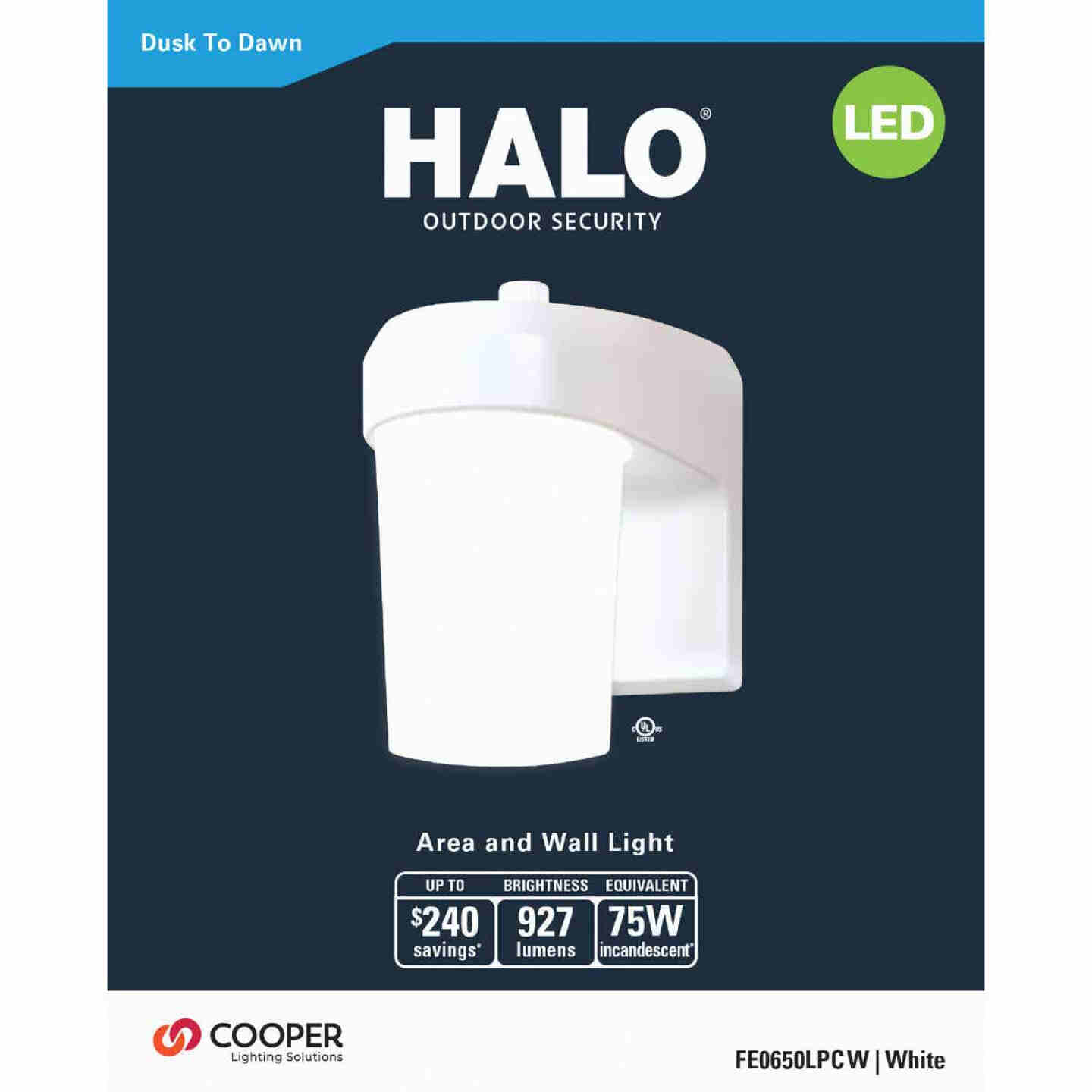 Halo White Dusk To Dawn LED Outdoor Area Light Fixture Image 2