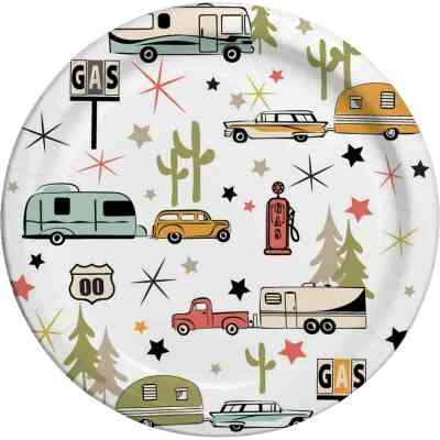 Camp Casual 10 In. Eco-Friendly Road Trip Design Paper Plates (24 Count)