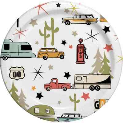 Camp Casual 8.5 In. Eco-Friendly Road Trip Design Paper Plates (24 Count)