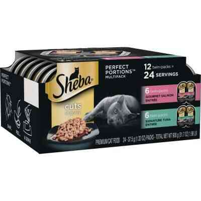 Sheba Perfect Portions Cuts in Gravy Gourmet Salmon/Signature Tuna Adult Wet Cat Food (12-Pack)