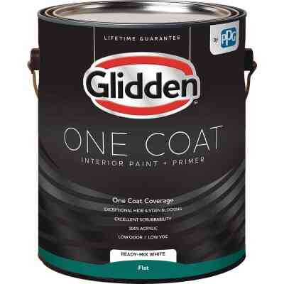 Glidden One Coat Interior Paint + Primer Flat Ready Mix White 1 Gallon