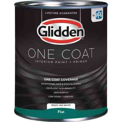 Glidden One Coat Interior Paint + Primer Flat Ready Mix White Quart