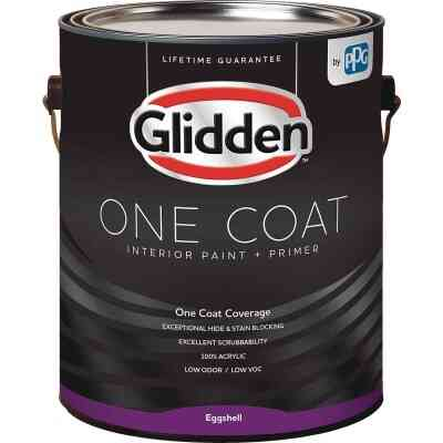 Glidden One Coat Interior Paint + Primer Eggshell White & Pastel Base 1 Gallon