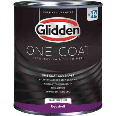 Glidden One Coat Interior Paint + Primer Eggshell Ready Mix White Quart
