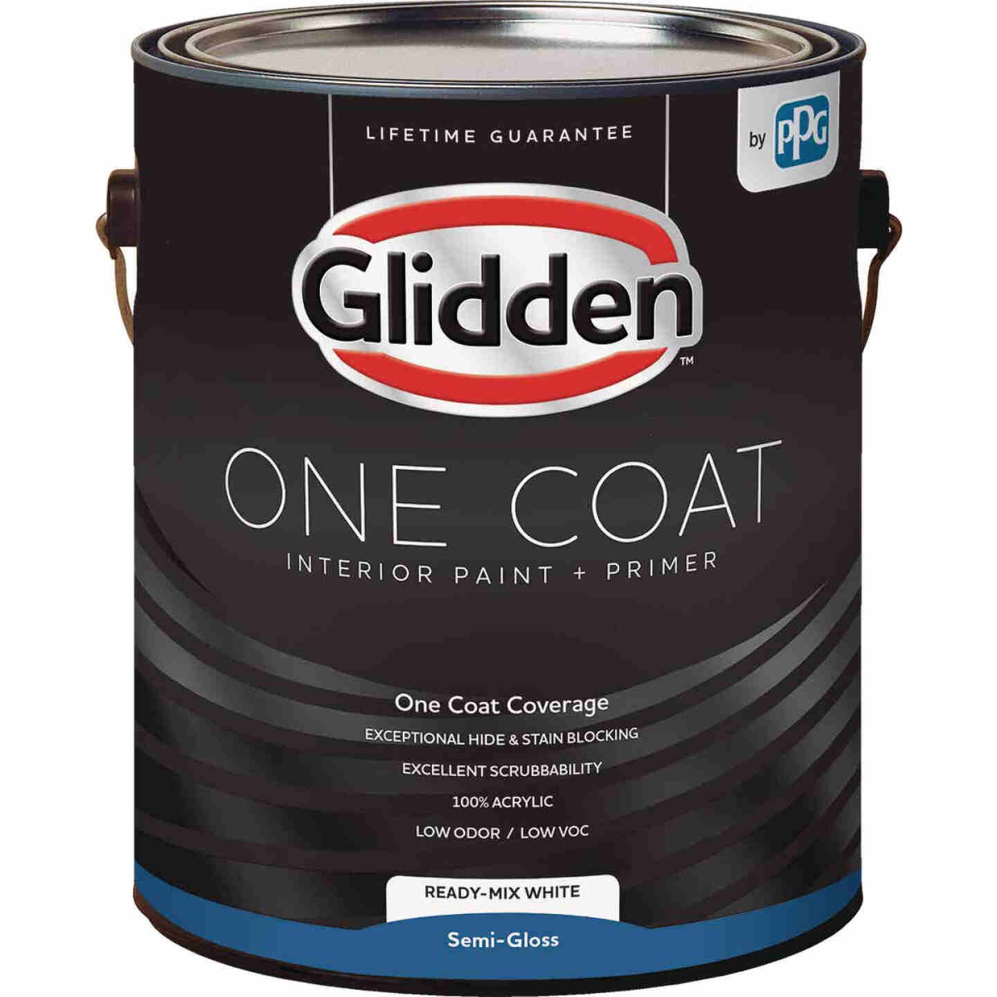 Glidden One Coat Interior Paint + Primer Semi-Gloss Ready Mix White 1 Gallon Image 1