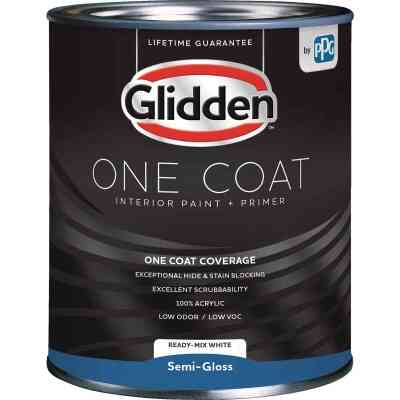 Glidden One Coat Interior Paint + Primer Semi-Gloss Ready Mix White Quart