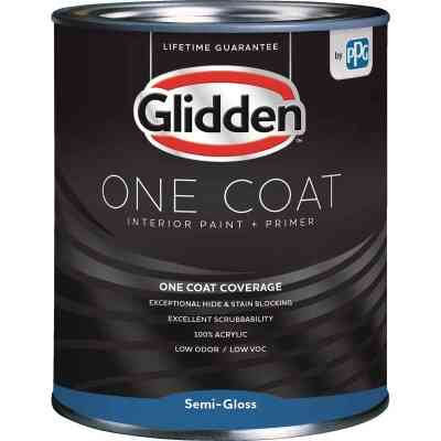Glidden One Coat Interior Paint + Primer Semi-Gloss White & Pastel Base Quart